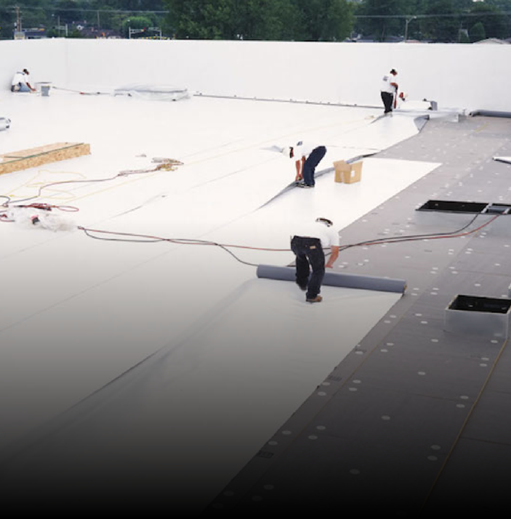 Roofers installing a flat roof