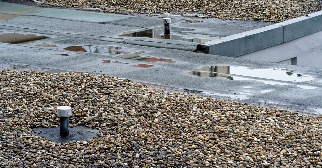 Water damage on a flat roof