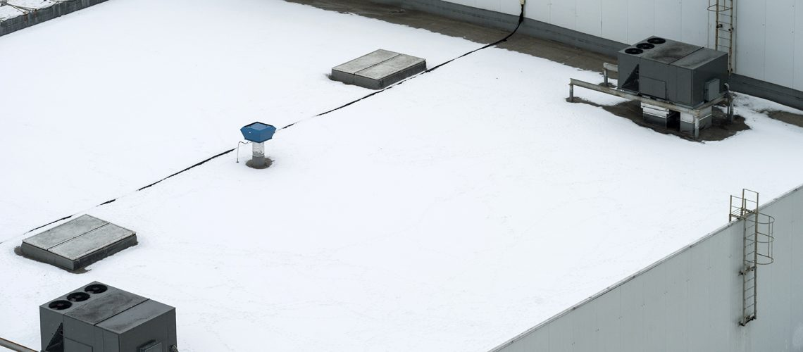 Snow on a flat roof